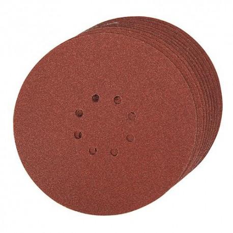 10 disques abrasifs perforés 8 trous auto-agrippants D. 225mm Grain 120 - 273151 - Silverline