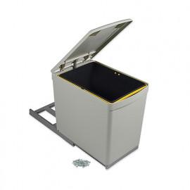 Poubelle à fixation inférieure et extraction manuelle avec 1 conteneur de 16L et couvercle automatique - 8906621 - Emuca