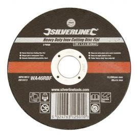 Disque à tronçonner l'inox à moyeu plat D. 125 x 1,2 x 22,23 mm - 276598 - Silverline