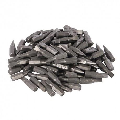 100 embouts de vissage L.25 mm Plat 6 mm chrome-vanadium - 277848 - Silverline
