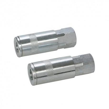 """2 coupleurs rapides pour tuyau air comprimé 1/4"""" BSP - 277851 - Silverline"""