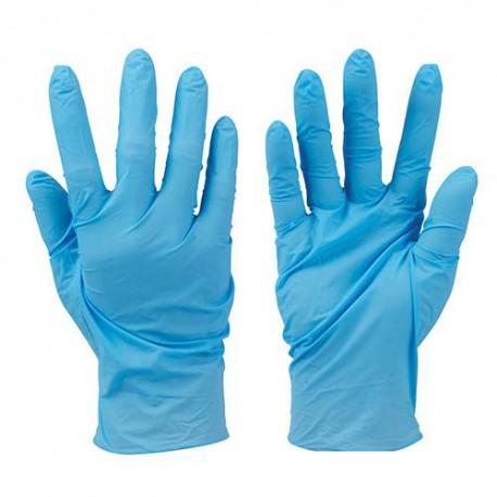 100 gants nitrile non poudrés jetables Bleu Large - 279250 - Silverline