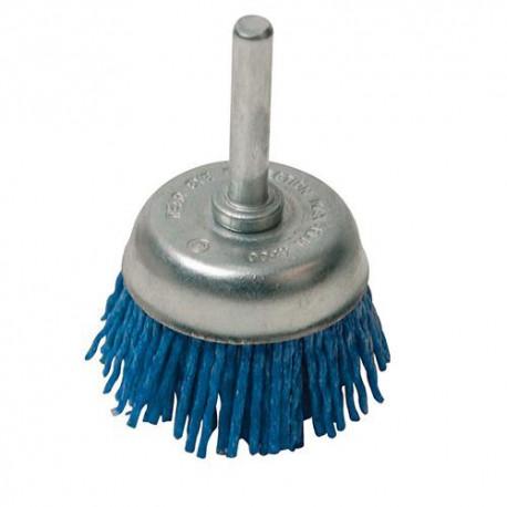 Brosse à fils nylon grossier D. 50 mm sur tige - 282419 - Silverline