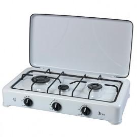 Réchaud gaz 3 feux blanc avec couvercle - PRF4001 - Ribiland