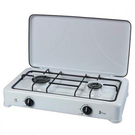 Réchaud gaz 2 feux blanc avec couvercle - PRF4002 - Ribiland
