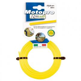 Fil rond pour débroussailleuse D. 2,4 mm x 15 m jaune MOTOPRO - PRDFD15X24RDJ - Ribiland