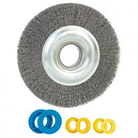 Brosse métallique pour touret D. 150 mm Al. 32 mm + bagues 20-14-12,7 mm, ép. 18mm, fil acier 0,35 mm - PRTMBR150R3 - Ribitech