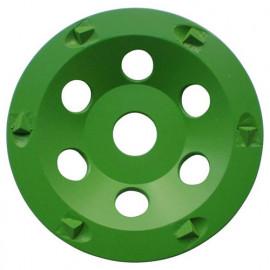 Plateau de surfaçage PCD GREEN GRINDER D.125 x Al.22,23 mm x 6 PKD 4,5 mm - Epoxy, béton, asphalte - fixtout Platinum