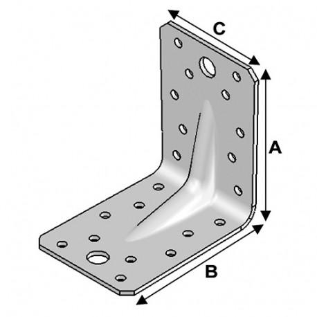 Equerre INOX avec renfort (H x L x l x ép) 90 x 90 x 65 x 2,5 mm - Fixtout