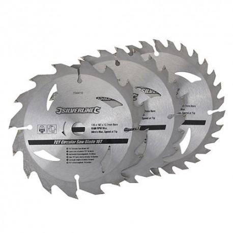 3 lames de scie circulaire carbure D. 150 x 20 mm x Z : 16, 24 et 30 - 292712 - Silverline