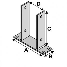 Pied de poteau en U type PBU 91 (A x B x C x D x ép) 200 x 60 x 200 x 91 x 5,0 mm - Fixtout