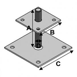 Pied de poteau réglable à boulonner avec platine et tige filetée (AxBxCxDxép) 150 x 100 x 150 x 20 x 4,0 mm - Fixtout