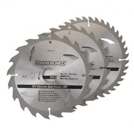 3 lames de scie circulaire carbure D. 180 x 30 mm x Z : 20, 24 et 40 - 298537 - Silverline