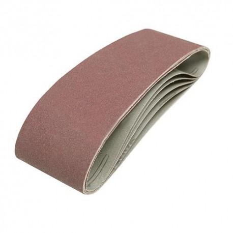5 bandes abrasives corindon 75 x 533mm Grains assortis : 40, 60, 2 x 80 et 120 - 310680 - Silverline
