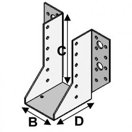 Sabot de charpente à ailes extérieures (P x l x H x ép) 80 x 51 x 135 x 2,0 mm - Fixtout