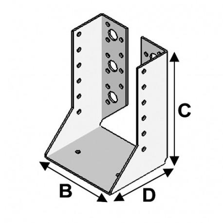 Sabot de charpente à ailes intérieures (P x l x H x ép) 80 x 90 x 205 x 2,0 mm - Fixtout