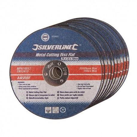10 disques plats à tronçonner le métal D. 125 x 3 x 22,23 mm - 349754 - Silverline