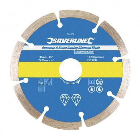 Disque diamant segmenté D. 115 x 22,23 x 7 mm pour béton et matériaux - 394979 - Silverline