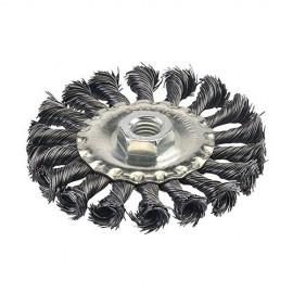 Roue à fils d'acier torsadés D. 100 mm sur tige - 398772 - Silverline