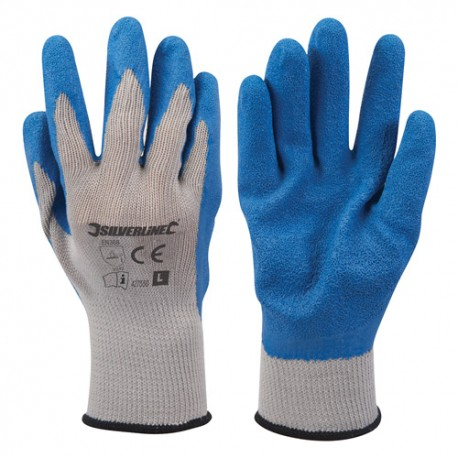 Gants de maçon enduction latex Large - 427550 - Silverline