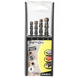 Coffret 8 forets béton PRO D. 3 à 10 mm. 2 taillants - 008108150 - Guex