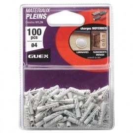 Sachet 100 chevilles nylon D. 4 mm. Charges moyennes. - 101201000 - Guex