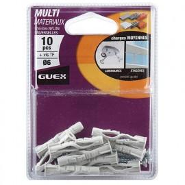 Sachet 10 chevilles nylon multi-matèriaux D. 6 mm + vis TF - 116201000 - Guex