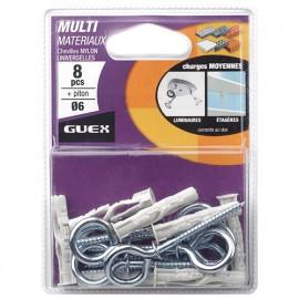 Sachet 8 chevilles nylon multi-matèriaux D. 6 mm + 8 pitons. - 116209000 - Guex