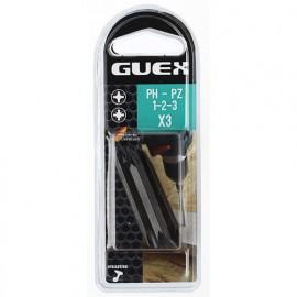 Lot de 3 embouts de vissage reversibles PH-PZ 1 / 2 / 3 X L. 50 mm. - 150612000 - Guex