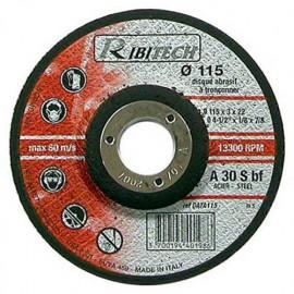 Disque à tronçonner l'acier à moyeu déporté D. 115 x 3,2 x 22,2 mm - PRDATA115 - Ribitech