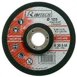 Disque à tronçonner l'acier à moyeu déporté D. 125 x 3,2 x 22,2 mm - PRDATA125 - Ribitech