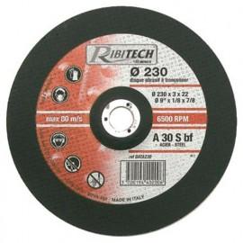 Disque à tronçonner l'acier à moyeu déporté D. 230 x 3,2 x 22,2 mm - PRDATA230 - Ribitech