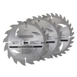 3 lames de scie circulaire carbure D. 160 x 30 mm x Z : 16, 24 et 30 - 436755 - Silverline