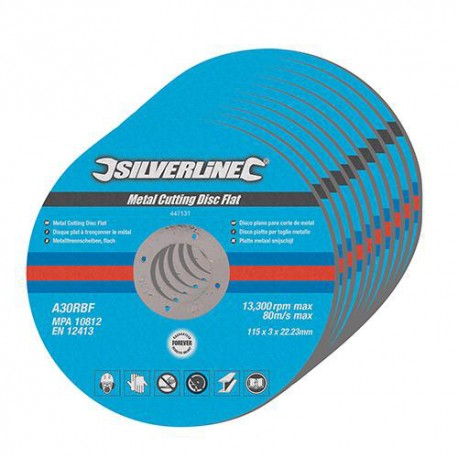 10 disques plats à tronçonner le métal D. 115 x 3 x 22,23 mm - 447131 - Silverline