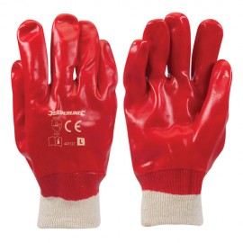 Gants PVC rouges Large - 447137 - Silverline
