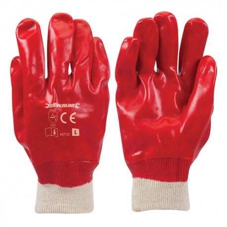 Gants PVC rouges Large - 447137 - Silverline