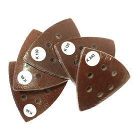 10 feuilles abrasives auto-agrippantes triangulaires 93 mm Gr. 80 x 6 trous pour outils oscillants - ZOU00252 - Labor