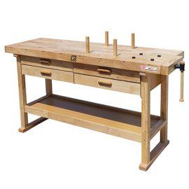 Etabli bois 1625 x 610 mm 4 tiroirs - WB162L - Holzmann