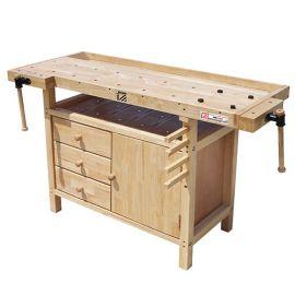 Etabli bois 1380 x 620 mm 1 porte + 3 tiroirs - WB138C - Holzmann
