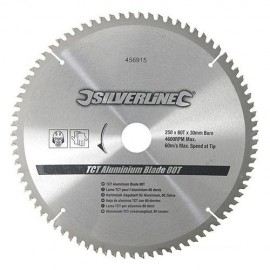 Lame de scie circulaire carbure D. 250 x 30 mm x Z : 80 pour Alu / Pvc - 456915 - Silverline