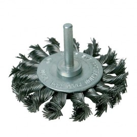Roue à fils d'acier torsadés D. 75 mm sur tige - 456933 - Silverline
