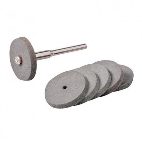 6 disques D. 22 mm à polir en caoutchouc sur tige 3,17 mm pour outil multifonction - 457002 - Silverline