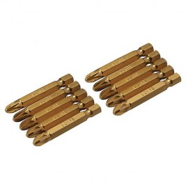 10 embouts de vissage L.50 mm Pozidriv PZ3, titane ( TiN) - 465989 - Silverline