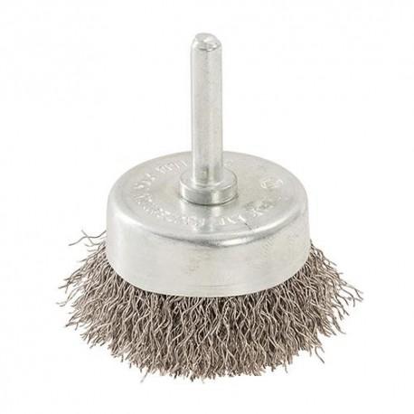 Brosse à boisseau fils d'acier inox D. 50 mm sur tige - 529311 - Silverline