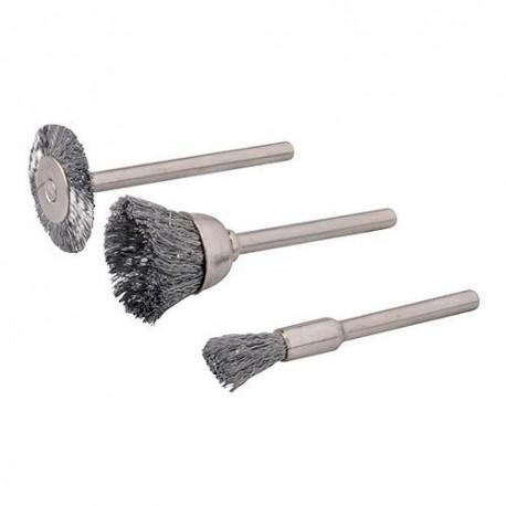 3 brosses en acier D.5, 15, 20 mm sur tige 3,17 mm pour outil multifonction - 580466 - Silverline