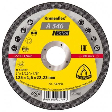 Disque à tronçonner MP EXTRA A 346 D. 125 x 1,6 x 22,23 mm - Acier inoxydable / Métal - 340938 - Klingspor