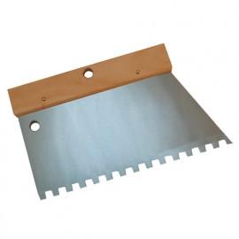 Peigne à colle manche bois L. 220 mm U 9 x 9 - 180232 - Mejix