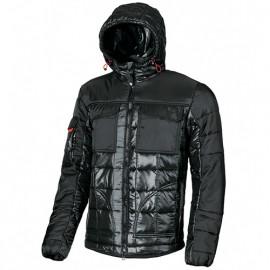 Anorak de travail en tissu bimatière avec deux poches poitrine fermeture velcro - PROGRESS Black Carbon - EX064BC - U-Power