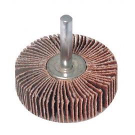 Roue à lamelles abrasives D. 80 mm Grain 40 sur tige - 589669 - Silverline