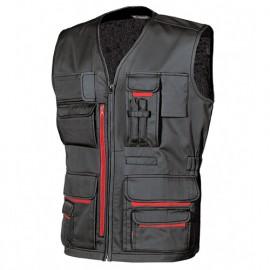Gilet de travail multipoches avec porte badge rétractable - FUN Black Carbon - HY018BC - U-Power